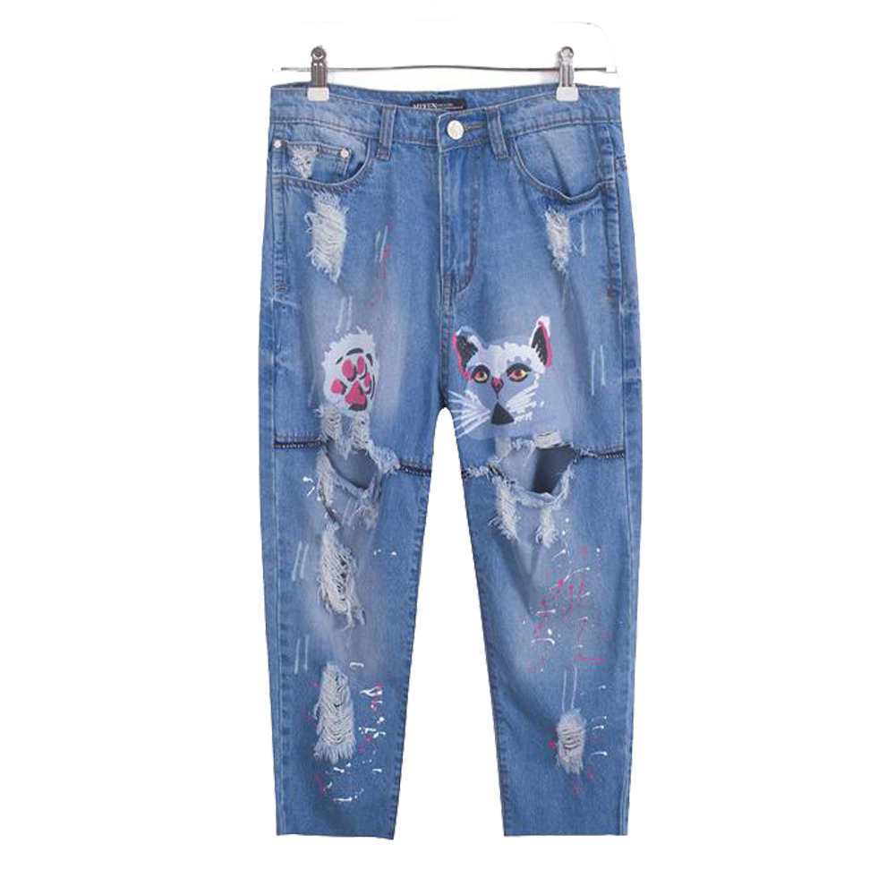 ФОТО 2017 New Women Spring Summer Blue Jeans Women Large Size Nine Point Ripped Jeans for women Loose Female Denim Pants High Waist