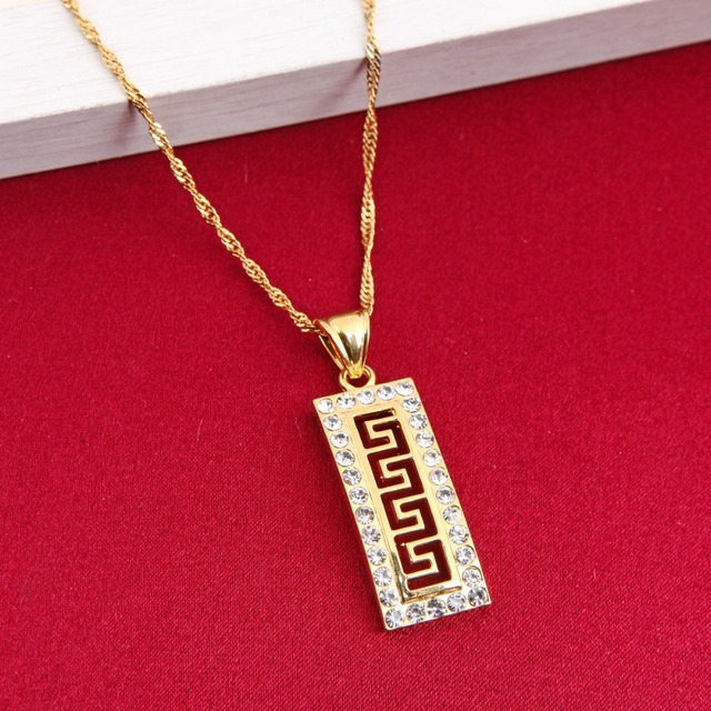 Greek key luxury fashion pendant chain women 24k gold color zircon greek key luxury fashion pendant chain women 24k gold color zircon pendant necklace for women birthday aloadofball Choice Image