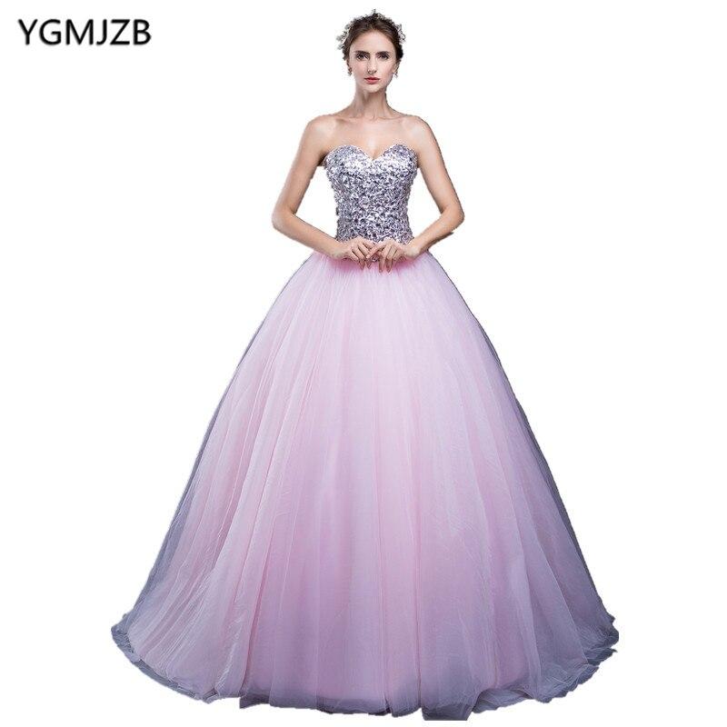 2018 rose doux 16 robes robes de bal chérie longueur de plancher avec paillettes cristal Quinceanera robes Tulle robes de 15 anos