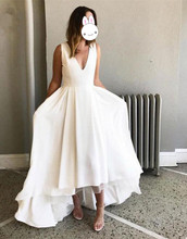 Elegant 2019 Hi Lo Gown Evening Dresses Long Sleeveless Deep V-Neck Zipper Back Formal Party Dress robe de soiree