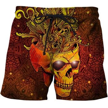 Skull Printed Mens Swim Shorts Summer Escatch Quick-Dry Mens Beach Shorts Swim Trunks Fashion 3d Skull Beach pants Surf shorts 1