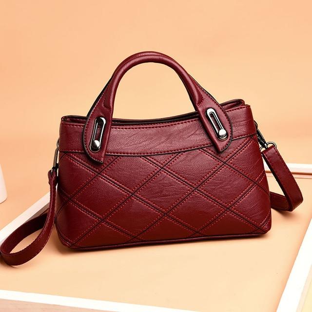 ファッションパッチワークolスタイルの女性の革ハンドバッグチェック柄バッグの女性のショルダーバッグ女性のメッセンジャーバッグbag ladiesladies shoulder bagtote bag
