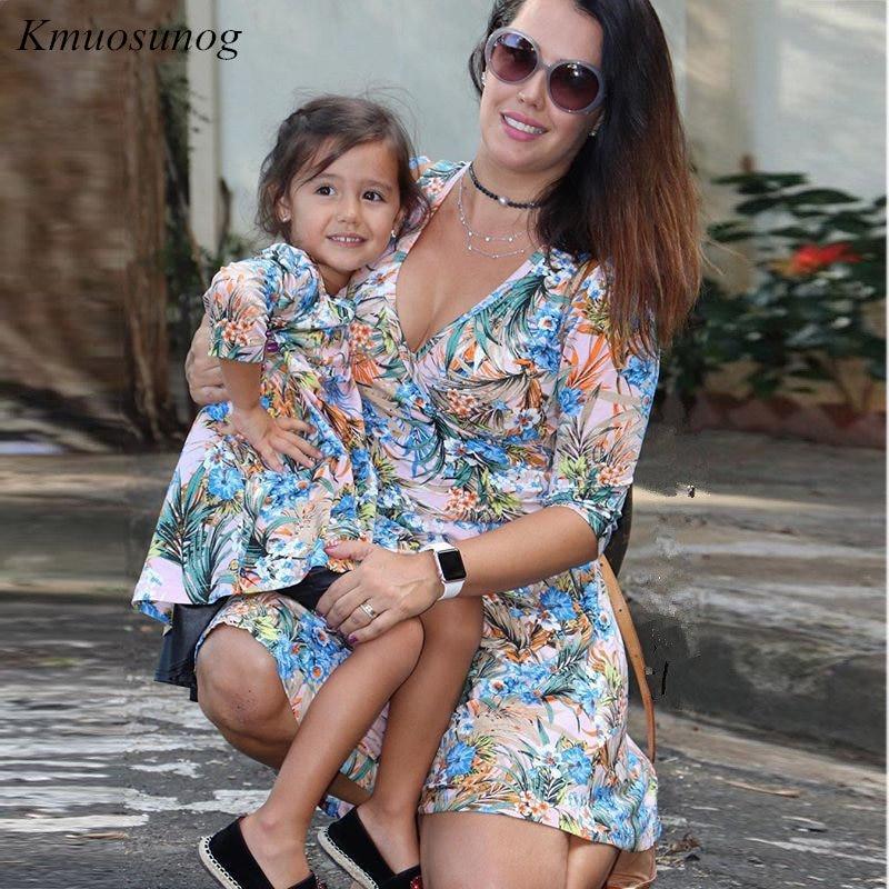 Mother-Daughter-Dresses-Half-Sleeve-V-neck-Mini-Dress-Mother-and-Daughter-Clothes-Spring-Leaf-Flowers