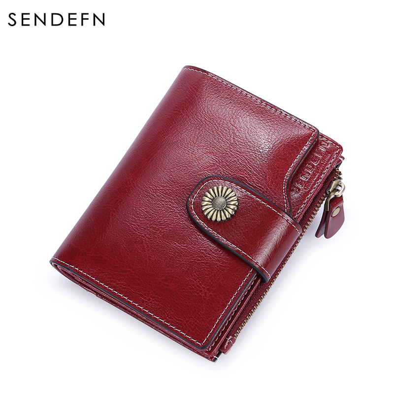 SENDEFN Genuine Leather Women Short Wallet Female Small Walet Fashion Lady Mini Zipper Wallet Coin Purse Card Holder 5206-5