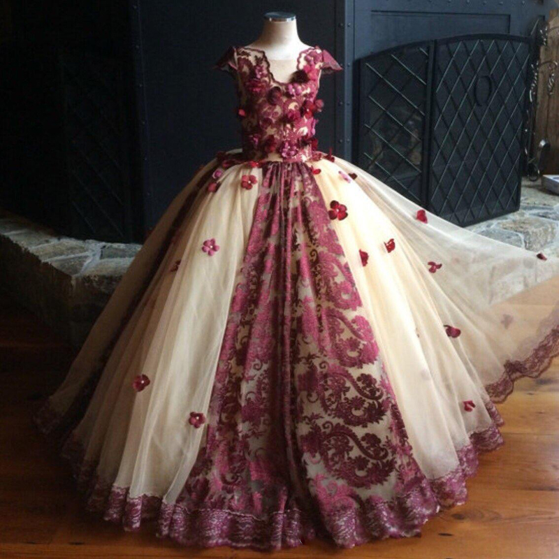 Pretty Burgundy Lace Pageant Dresses For Girls 2019 Cap Sleeve Ball Gown Appliques Kids Holy Flower Girl Dresses Custom Made