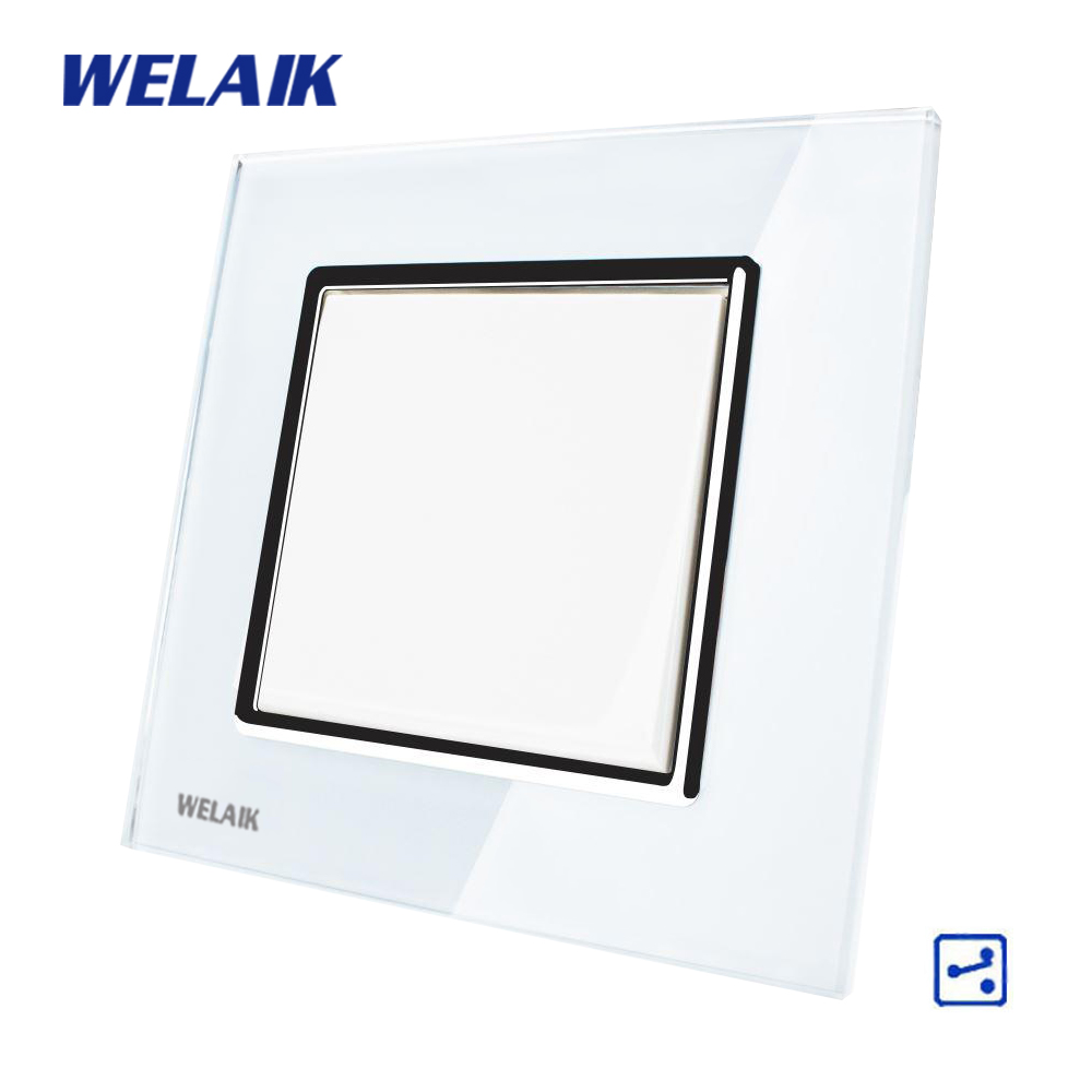 WELAIK Push Button 1Gang2Way Switch Manufacturer of Wall Light Switch Black White Crystal Glass Panel AC 110-250V  A1712W/B manufacturer xenon wall switch 110 240v smart wi fi switch button glass panel 1 gang ivory white eu touch light switch panel