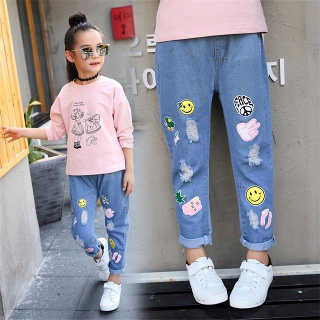 a84e9822d1dc 3-12 y los niños para niñas jeans de moda chica denim Pantalones de dibujos