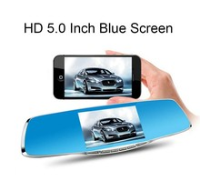 Novatek Chip 5.0 inch Blue Screen Car Rearview Mirror Camera Full HD 1080P Dvr Digital Video Recorder 2 Cameras Auto Dash Camara