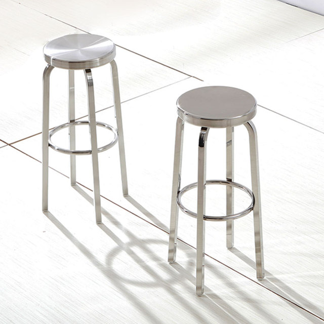 Modern Simple Stainless Steel Outdoors High Bar Stool Round Rotary Cashier Cafe