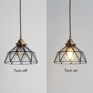 Image 4 - בציר E27 led בעבודת יד פליז מנורת ראש זכוכית אהיל תליון אורות מטבח חדר שינה ליד מיטת מעבר מסעדת תליית מנורה
