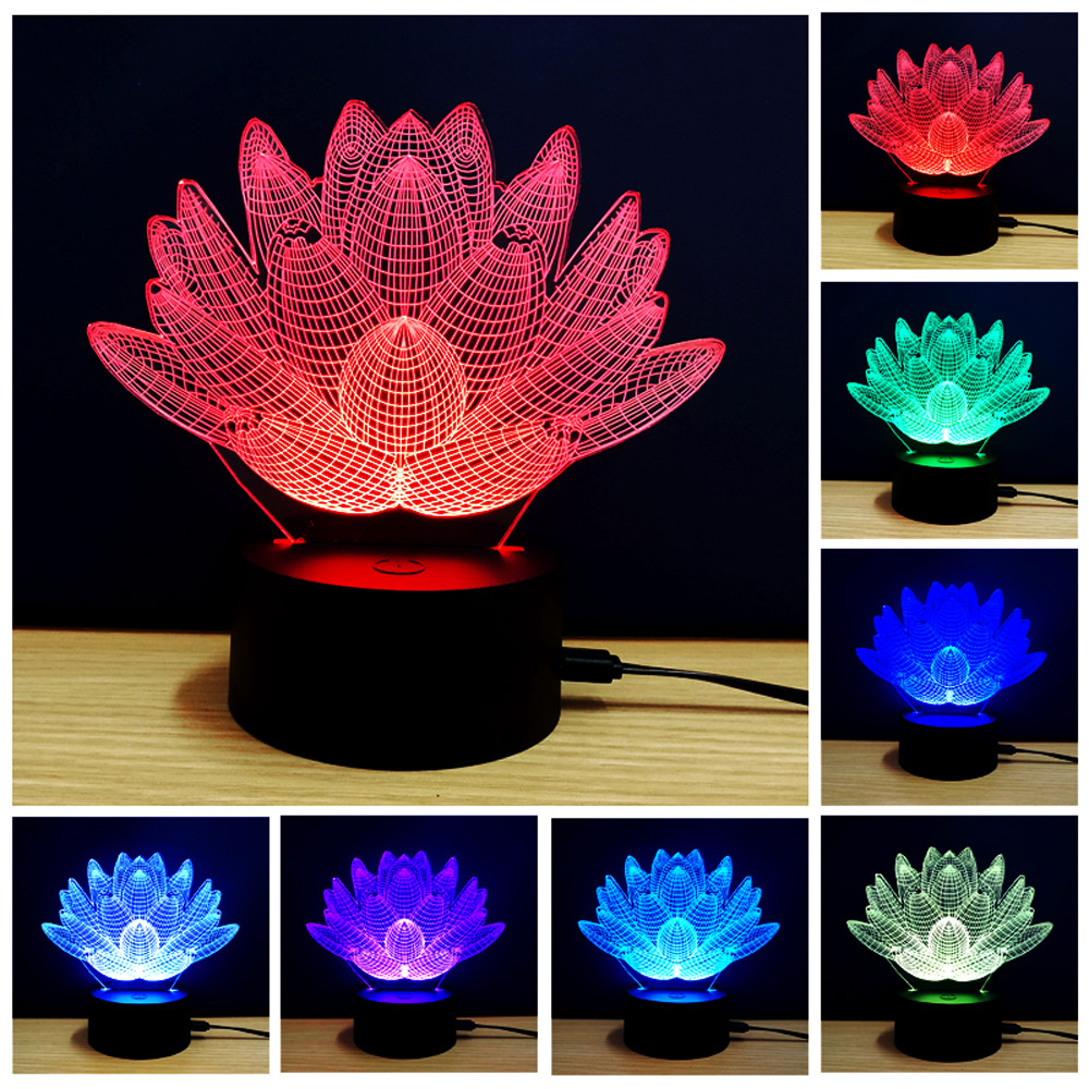 New Arrival Creative Lotus Design Rechargable 3D Colorful Lotus Model LED Table Lamp with USB Desk Light Room Decoration fancy 3d lotus pond design bathroom stickers