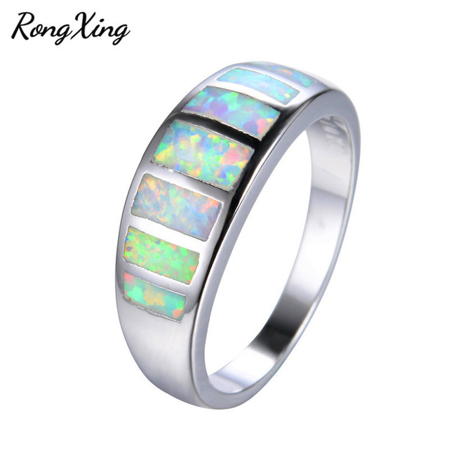 Mysterious Rainbow Fire Opal Rings for Women Men Wedding Band