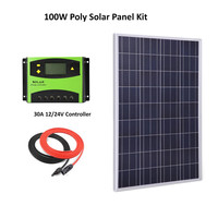 Solar Panel System DIY Kit 100W Solar Panel Polycrystalline silicon CELLS+30A LCD solar controller+ cable