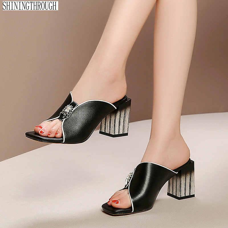 Gladyatör terlik kadın hakiki deri yüksek topuklu ayakkabılar kadın moda elbise düğün sandalet