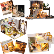 DIY Doll House Minature Dollhouse Casa Wooden House For Dolls Building Model With Furniture Christmas Gift Toys For Children #E недорого