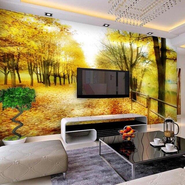 Customizable Romantic Aesthetic Golden Autumn Wallpaper Bedroom