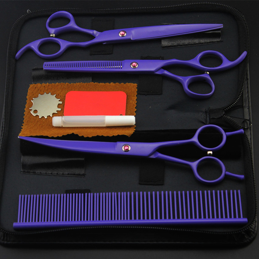 4 kit professional japan purple pet 7 inch shears dog grooming hair scissors cutting thinning barber comb hairdressing scissors purple dragon 7 inch pink black thinning pet shears dog hair scissors clipper for dogs professional grooming tool for dog cat
