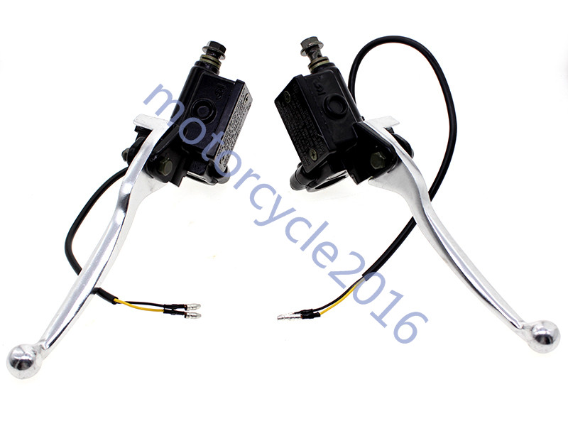 7/8 22MM Universal Hydraulic Clutch and brake Master Cylinder Lever One Pair For Motorcycle 125-500cc 200CC 300CC Silver 7 8 22mm universal motorcycles brake clutch levers master cylinder reservoir for suzuki 125 300cc moto hydraulic brake lever