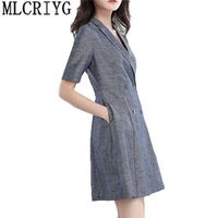 Women Spring Summer OL Office Work Linen Dresses Blue Gray Double Breasted Casual Club Party Mini Dress Sundress Vestidos LX116
