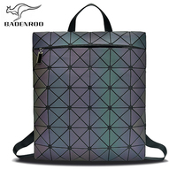 Badenroo New Brand Luminous Women Backpack Leather Student School bag Geometric Laser Diamonds Lattice Small Backpacks for Girls