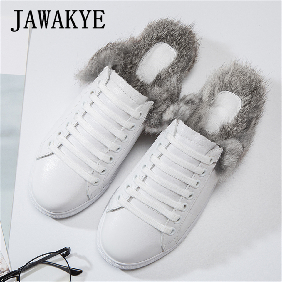 JAWAKYE White lace up Fur slippers Flat sandals women new leather round toe Casual flats with Rabbit fur lazy half slipper shoes fall winter chic women rabbit fur slippers genuine leather flat heels shoes women round toe slip on warm lazy outdoor mules