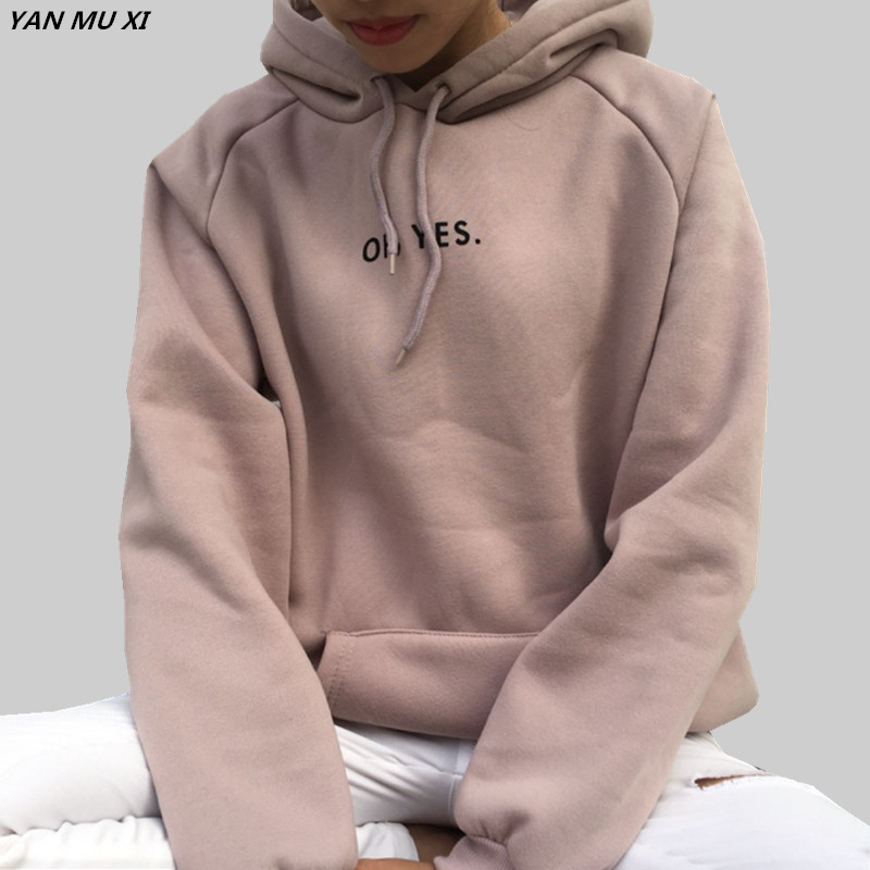OH YES New Fashion Corduroy Long sleeves Letter Harajuku Print  Light pink Pullovers Tops O-neck Women's Hooded sweatshirt tops(China)