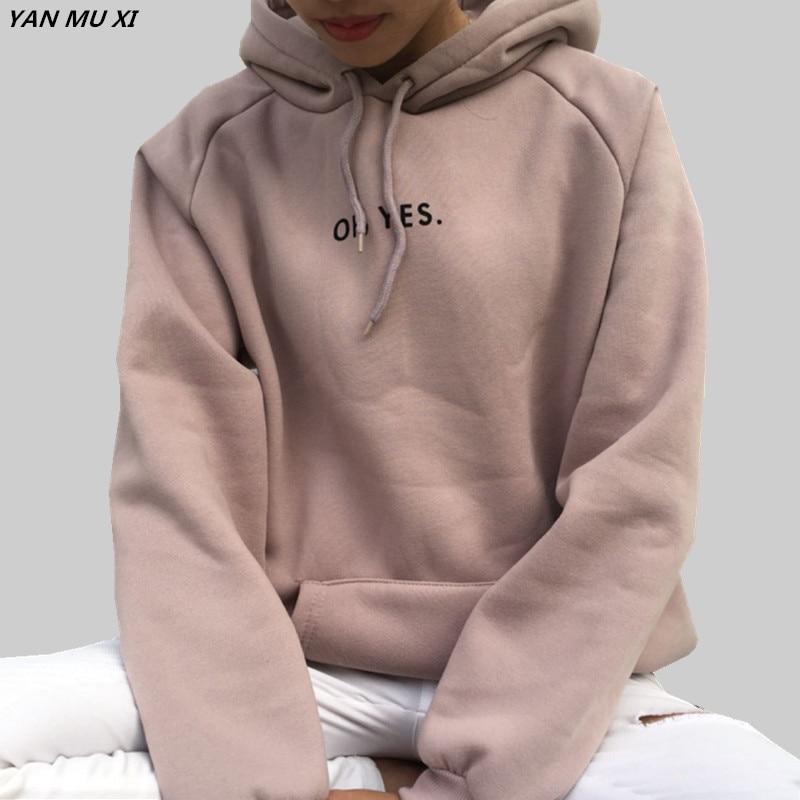 Женские свитеры с капюшоном и надписью, вельветовые пуловеры с длинным рукавом и надписью OH YES, светло розовые топы с капюшоном, топы разных цветов, зима 2019