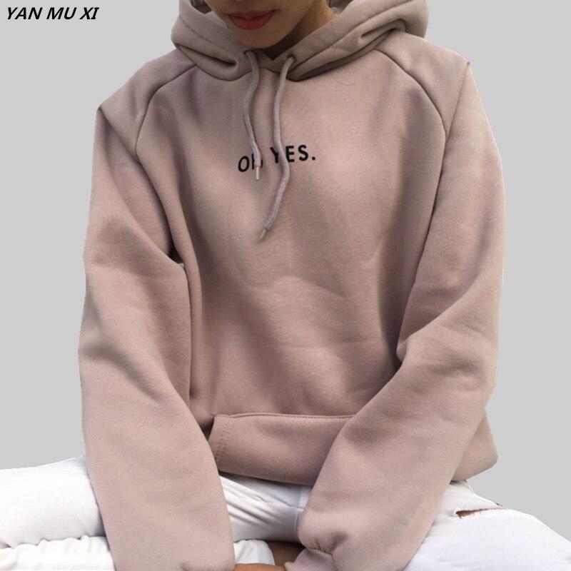 OH YES2017 nueva moda de pana manga larga carta Harajuku estampado chica luz Rosa jerseys Tops cuello mujer Sudadera con capucha