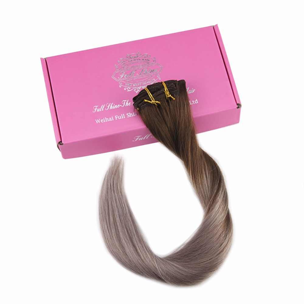 Полный блеск 100% Remy человеческие волосы клип в расширениях Ombre цвет #4 темно коричневый выцветания до 18 пепельный блондин 7 шт. 50 г клип расширение