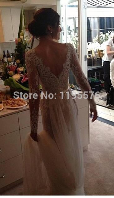 0fb73e9cce4e placeholder 2015 Illusion Long Sleeve Lace Steven Khalil Wedding Dresses  Backless Winter Scallop Trim Lace Bateau Beaded