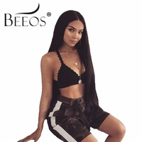 BEEOS 250% Density Human Hair Lace Front Wigs Straight With Baby Hair Brazilian Remy Hair Pre Plucked Lace Wig Bleached Knots