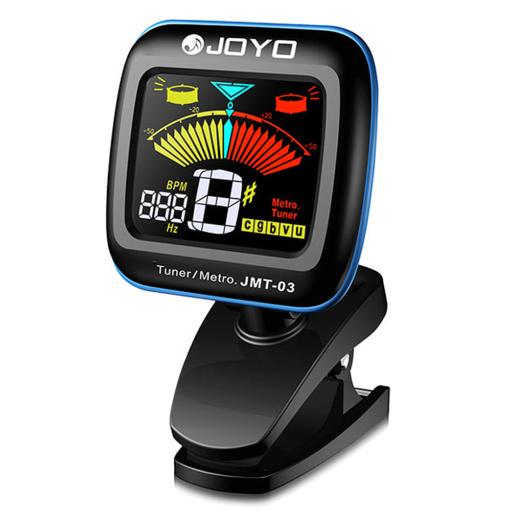 JOYO JMT-03 Mini Clip On Digital Guitar Tuner & Metronome 360 Degree Rotate Color LCD Display for Chromatic Bass Violin Ukulele