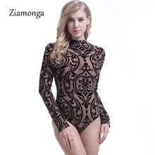 Ziamonga, сетчатый принт, длинный рукав, прозрачный, сексуальный, боди для женщин, спандекс, черный, водолазка, сетка, боди, топ, комбинезоны, комбинезоны