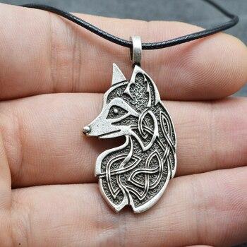 Ожерелье амулет с лисой Викинга, 1 шт., подвеска с узлом для кельтиков, украшения для женщин и мужчин
