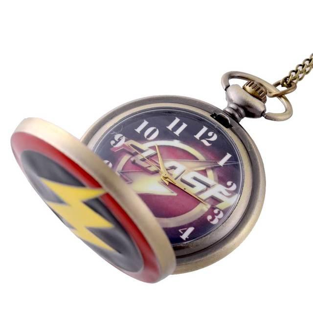 Vintage Bronze Flash Quartz Pocket Watch Retro Men Women Pendant Necklace  Jewelry Gifts