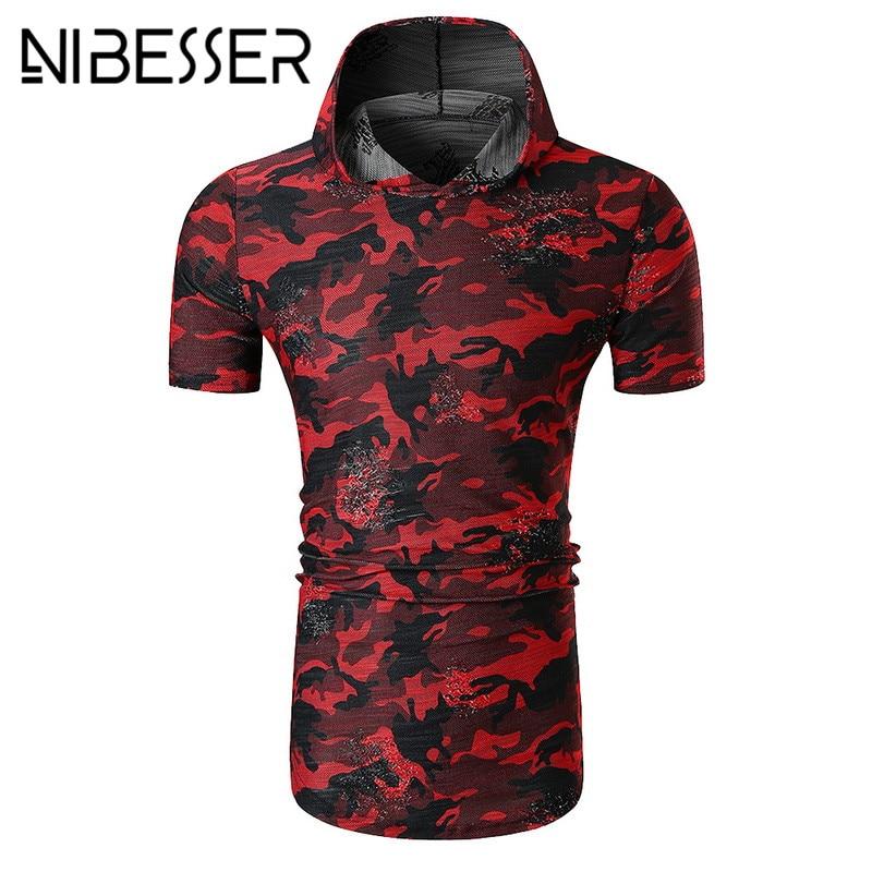 NIBESSER Short Sleeve T-Shirt Casual Hole Hooded Pullover Male Tee Shirt en Summer Hip Hop Camouflage Streetwear Sweatshirt ...