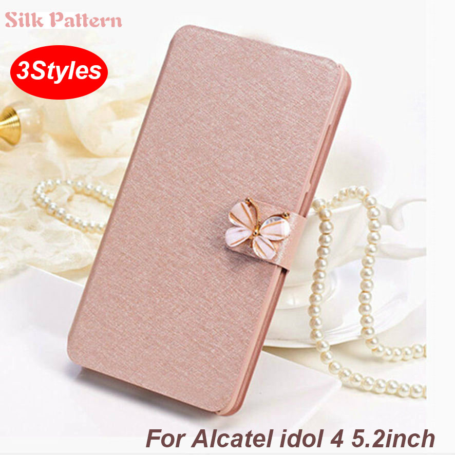 (3 Styles) For <font><b>Alcatel</b></font> <font><b>Idol</b></font> <font><b>4</b></font> <font><b>Case</b></font> Luxury <font><b>Flip</b></font> PU Leather Stand <font><b>Case</b></font> For <font><b>Alcatel</b></font> <font><b>Idol</b></font> <font><b>4</b></font> 6055B <font><b>6055K</b></font> 6055H 6055Y Cover silicon image