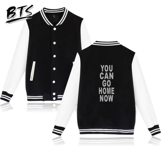 824b9e8ee BTS Hip Hop Kpop You Can Go Home Now Casual Print Harajuku Long Sleeve  Baseball Jacket Tops Women Clothes 2018 Plus Size A8857