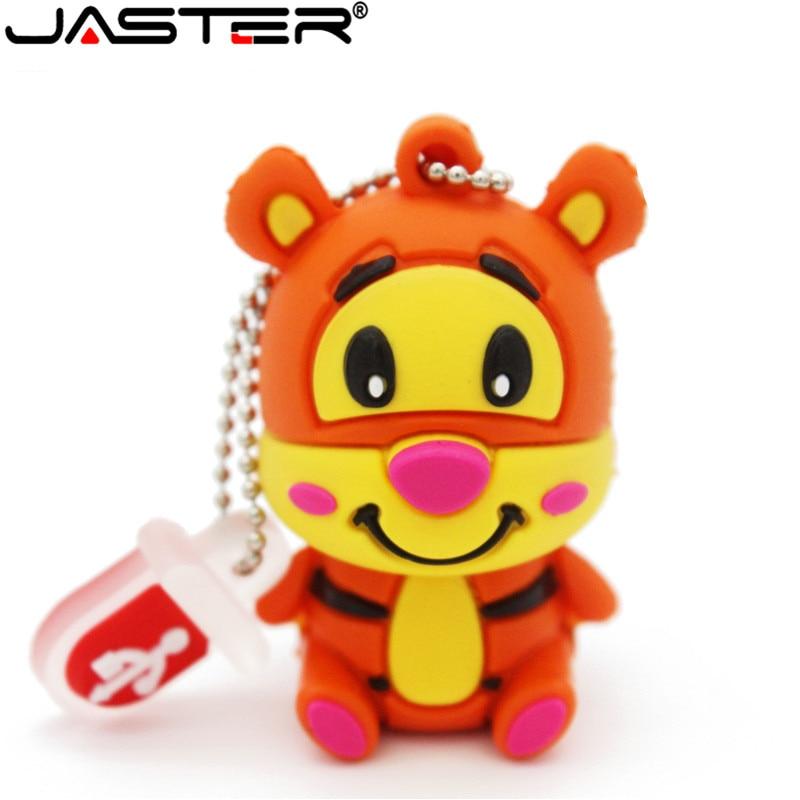 JASTER Winnie Bear Pen Drive Tigger Donkey Usb Flash Drive Animal Pendrive 8GB 16GB 32GB 64GB Cartoon Memory Stick