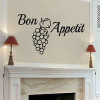 Wall Decals Bon Appetit Decal Vinyl Sticker Grapes Home Decor Bedroom Cafe