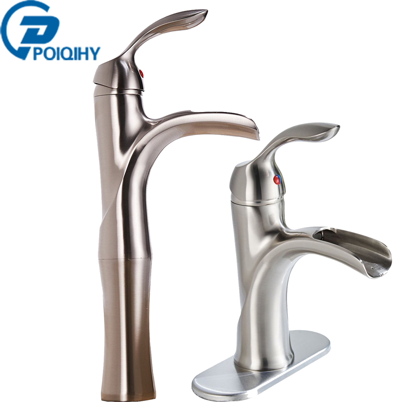 Brass Brushed Nickel Bathroom Basin Faucet Waterfall Spout Single Handle Vanity Sink Mixer Taps Deck Mounted Tap wall mounted dual handle waterfall basin faucet brushed nickel hot and cold wash basin mixer taps