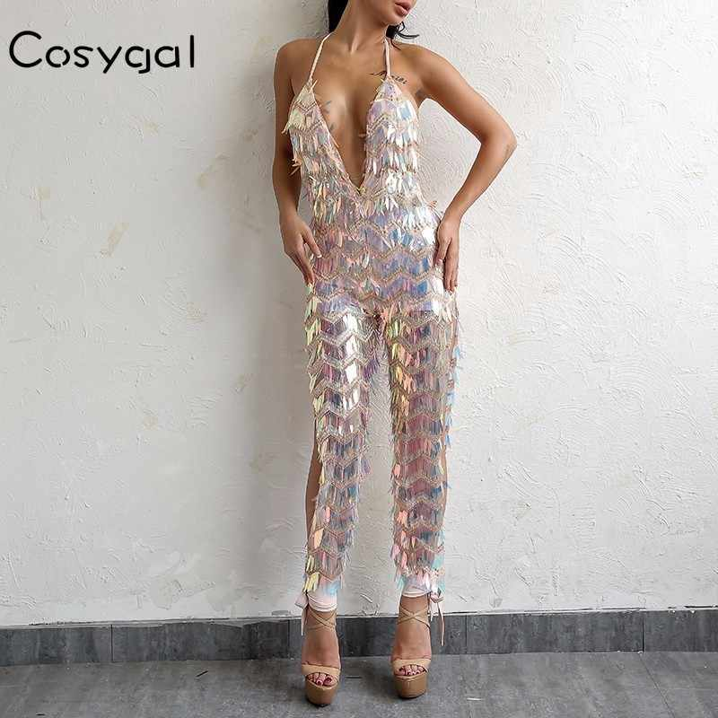 COSYGAL Backless Jumpsuit Rompers เซ็กซี่ด้านข้างแยก Bling Sequined Clubwear PARTY Night สบายๆ Playsuit Drop Shipping