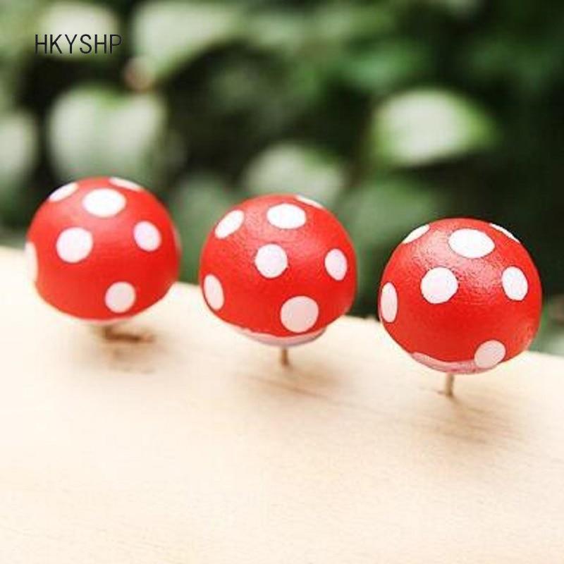 Hkyshp Cute Novelty Polka Dots Mushrooms Shape Wooden Pushpin 5 Pcs/set Colored Decorative Tack Cork Nail School Office Supplie Pin