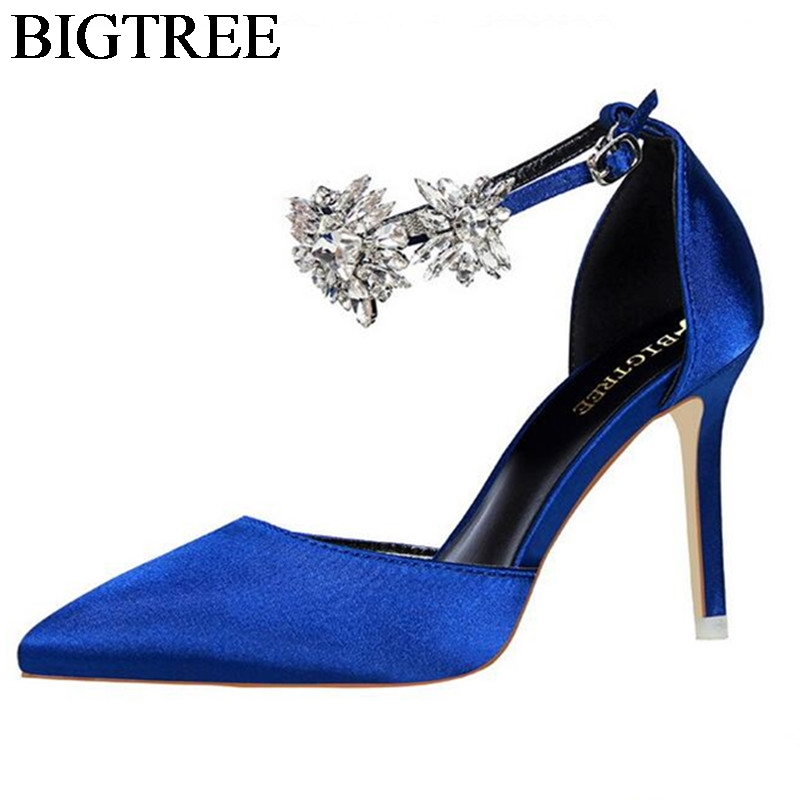 BIGTREE Luxury Rhinestones Ankle Buckle Strap Sandals Party Shoes Sexy Point Toe Shallow Silk Satin High-heeled Pumps Woman Thin lady red pleather point toerivets ankle strap comfortable high heels sexy pumps shoes for woman party