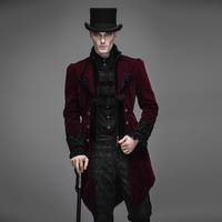 Gentleman Velvet Gothic Baroque Vintage Victorian Trench Coat Winter Jacket Tail Coat RED CT02202