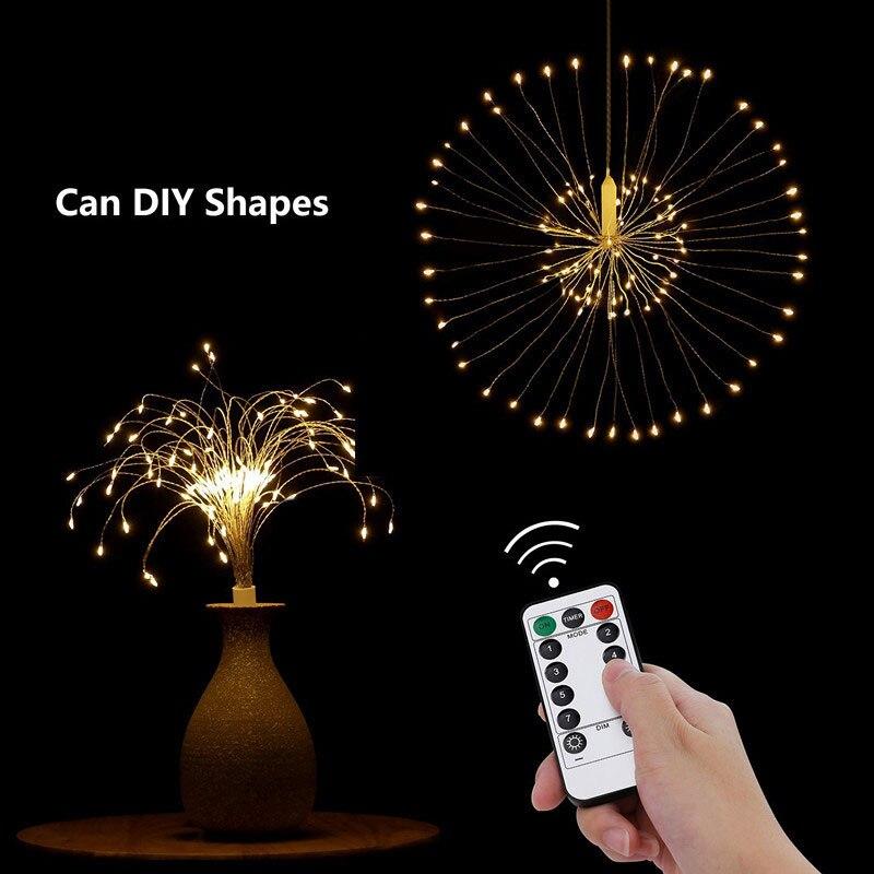 80LED télécommande Suspendus-up Starburst fée lumière de corde DIY feu d'artifice De Noël Explosion Batterie De Mariage Bar De Noël Star ball