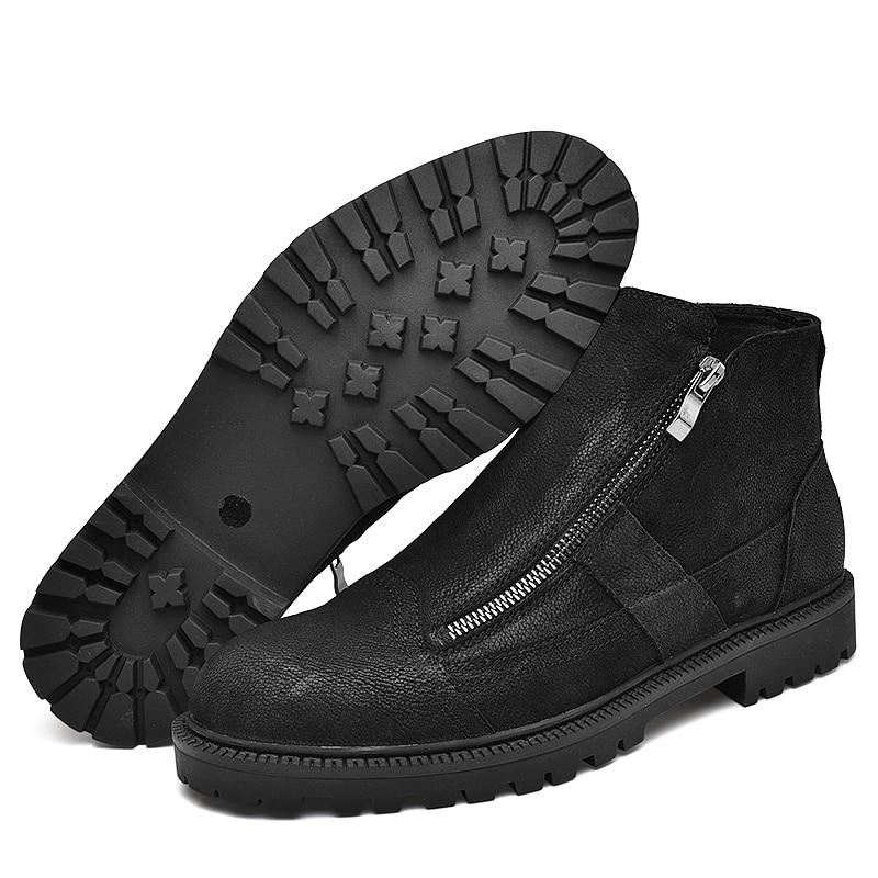 Fotwear hommes botte en cuir pleine fleur hommes travail noir chaussures hiver botte en peluche avec zip doublure en micropolaire douce pour plus de chaleur - 2