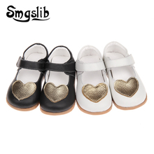 Girls Shoes Children Genuine Leather Princess Party Toddler 2019 Little Girls Mary Jane Kids Dance Heart-shaped Casual Shoes toddler girl sequin glitter flat sandals little kids mary jane pu leather pumps big children party wedding princess dress shoes