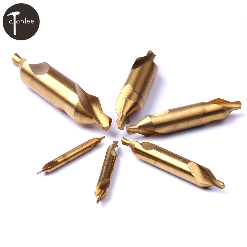 цена на 1pc 1mm 2mm 3mm 4mm 5mm 6mm Type A HSS Titanium Tone Combined Center Drills Double End Countersinks Drill Bit Set