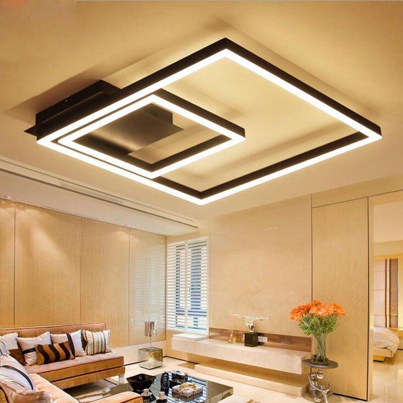Square led living room ceiling lamp modern simple office lamps Iron loft bar shop industrial wind bedroom lights led fixture
